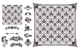 Seamless pattern and design elements Royalty Free Stock Image