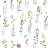 Seamless pattern design with floral pots Stock Image