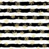Seamless pattern design. Gold glittering snowflakes on black and white striped background. EPS 10 stock illustration