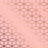 Seamless pattern design with golden geometric lines and cubes on pink background Royalty Free Stock Photos