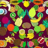 Tropical fruits collection, seamless pattern design on dark red background stock illustration
