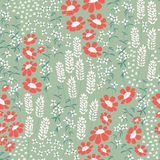 Seamless pattern design with hand drawn flowers and floral eleme Royalty Free Stock Image