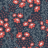 Seamless pattern design with hand drawn flowers and floral eleme Stock Photo
