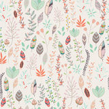 Seamless pattern design with hand drawn flowers, floral elements. And feathers, vector illustration Stock Photo