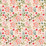 Seamless pattern design with little flowers, floral elements. Birds, vector illustration Stock Photo