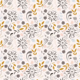 Seamless pattern design with little flowers, floral elements. Birds, vector illustration Stock Image