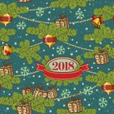Seamless pattern design. Merry Christmas card decoration. Happy New Year design elements. Vintage background of fire stock illustration