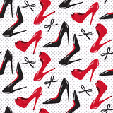 Seamless pattern design red and black glossy high heeled shoes  vector illustration. Stock Photo