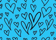 Seamless patterns with blue hearts, Love background, heart shape vector, valentines day, texture, cloth, wedding wallpaper. Textiles, scrapbook, gift wrapping stock illustration