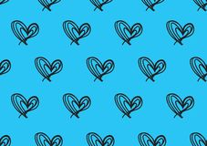Seamless patterns with blue hearts, Love background, heart shape vector, valentines day, texture, cloth, wedding wallpaper. Textiles, scrapbook, gift wrapping royalty free illustration