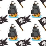 Seamless pattern for design surface Black Jolly Roger pirate flag.  vector illustration