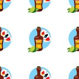 Seamless pattern for design surface on pirate theme. Bottle of rum and playing cards.  royalty free illustration