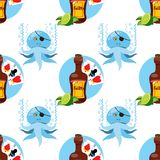 Seamless pattern for design surface on pirate theme. Bottle of rum and playing cards.  stock illustration