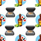 Seamless pattern for design surface on pirate theme. Bottle of rum and playing cards.  vector illustration