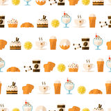 Seamless pattern with dessert and drinks Stock Images