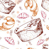 Seamless pattern with desserts. Hand drawn brownie, croissant, pastry. Vector illustration for your design. Stock Images