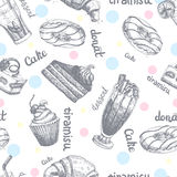 Seamless pattern with desserts hand drawn pancakes and sweet buns sketch cake cream vector illustration. Royalty Free Stock Photography