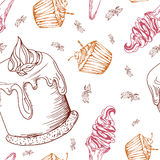 Seamless pattern with desserts. Hand drawn panna cotta, muffin, ice cream. Vector illustration for your design. Seamless pattern with desserts. Hand drawn panna vector illustration