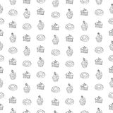Seamless pattern with desserts hand drawn Royalty Free Stock Photo