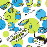 Seamless pattern of devices for home use Stock Photos