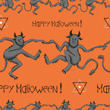 Seamless pattern with devils and pentacles. Seamless Halloween set with dancing demons, text and pentacle symbol on orange background Stock Photos
