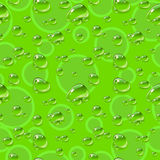 Seamless pattern. Dew drops on green background. Vector illustration Royalty Free Stock Images