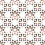 Seamless pattern of diamond flowers on white background stock images