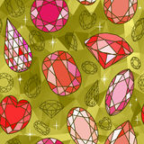 Seamless pattern with diamonds and golden background Stock Images