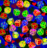 Seamless pattern with dices and cards. Stock Photos