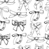 Seamless pattern with diferent monochrome bows. Hand drawn ink sketch isolated on white background stock illustration
