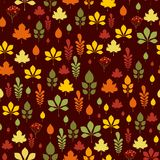 Seamless pattern with different autumn leaves. In orange, green, brown and yellow. Perfect for wallpaper, gift paper, pattern fills, web page background, autumn Stock Photos