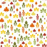 Seamless pattern with different autumn leaves. In orange, green, brown and yellow. Perfect for wallpaper, gift paper, pattern fills, web page background, autumn Royalty Free Stock Photo
