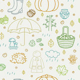 Seamless pattern with different autumn symbols. Linear nature icons background. Stock Photos