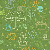 Seamless pattern with different autumn symbols. Linear nature icons background. Stock Photography