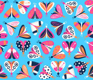 Seamless pattern with different beautiful butterflies Stock Photo