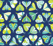 Seamless pattern with different beautiful butterflies Royalty Free Stock Photo