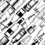 Seamless pattern with different beer bottles Royalty Free Stock Photography
