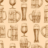 Seamless pattern with different beer glasses and mugs Royalty Free Stock Images