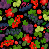 Seamless pattern with different berries stock photos