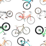 Seamless pattern of different bicycles isolated on a white. Background Stock Images