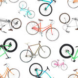 Seamless pattern of different bicycles isolated on a white. Background Royalty Free Stock Images