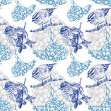 Seamless pattern with different birds and plants drawn by hand Royalty Free Stock Photos