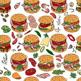 Seamless pattern with different burgers. Stock Photo