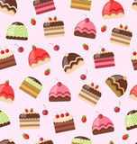 Seamless Pattern with Different Cake Royalty Free Stock Images