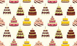 Seamless pattern with different cakes with cream for birthdays, weddings, anniversaries and other celebrations. Stock Images