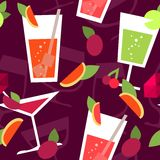 Seamless pattern with different cocktails Royalty Free Stock Photography