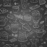 Seamless pattern with different coffee elements on chalkboard. Coffee collection royalty free stock photos