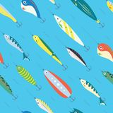 Seamless Pattern Different Color Fishing Bait with Big and Small Cartoon Fishes in the Ocean or Sea. Blue Marine Background. Fishing Club Vector Illustration royalty free illustration