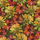 Seamless pattern with different colored flowers Stock Photo