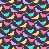 Seamless pattern of different colored wild birds. Royalty Free Stock Photo